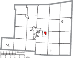 Location of Gambier in Knox County