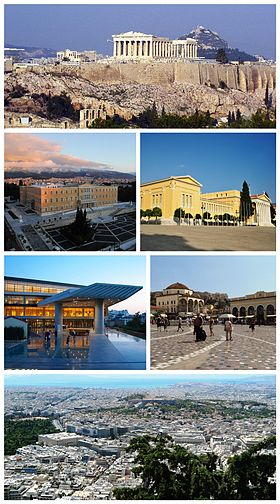 From upper left: the Acropolis, the Hellenic Parliament, the Zappeion, the Acropolis Museum, Monastiraki Square, Athens view towards the sea