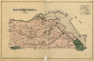 "Map labeled ""Alexandria County"" on old yellowed paper, with Potomac River along upper right"