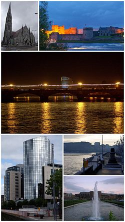 A montage of Limerick. From top, left to right: St. John's Cathedral, King John's Castle, The Clarion Hotel, Riverpoint, Treaty Stone and the University Concert Hall at the University of Limerick.