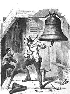 An elderly man looks excitedly around as a boy enters a bell chamber. The old man holds a rope leading to the Liberty Bell in his hand.