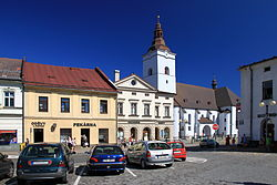 Part of town square with Corpus Christi Church
