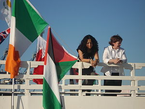 Huwaida Arraf and Mairead Maguire aboard the MV Spirit of Humanity, June 2009