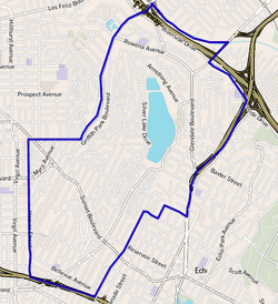 Silver Lake boundaries as drawn by the Los Angeles Times