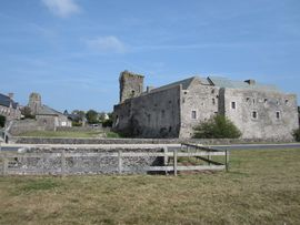 The castle on the right, the church at left