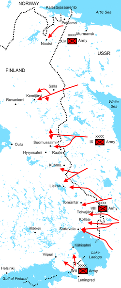 Diagram of Soviet assaults illustrating the positions of the Soviet armies and their offensive routes. The Red Army invaded dozens of kilometres deep Finland during the first month of the war.