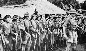 Soldiers on parade in front of a hut in a tropical setting. An officer in a steel helmet with a walking stick stands in front facing away from them, while the men behind him are wearing a various assortment of uniforms including steel helmets, slouch hats, shorts and are carrying rifles