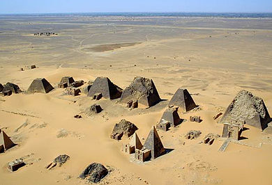 At Meroë, pyramids of the Kushite rulers