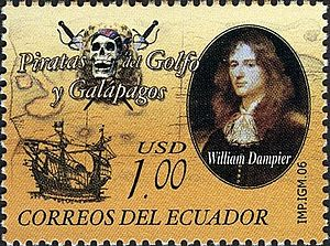 A one-dollar postage stamp portrays Dampier, a Jolly Roger and a sailing ship