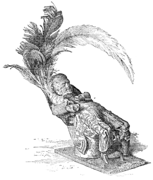 Image of a 19th century illustration of an obeah figure of a seated figure confiscated from a black man named Alexander Ellis