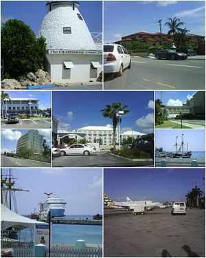 From top to the bottom and from left to right: The Lighthouse, West Bay Road, Cayman National Bank, 7Mile Beach, The Ritz-Carlton Hotel, 7 Mile beach Road, Water Front, The Port, Owen Roberts International Airport.