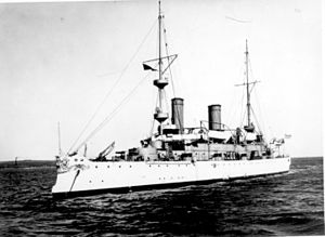 USS_Olympia;Port Bow, February 10, 1902.