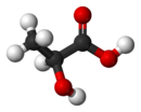 Ball-and-stick model of L-lactic acid
