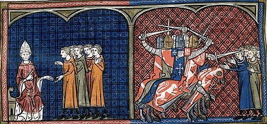 Two illuminations: the pope admonishing a group of people and mounted knights attacking unarmed people with swords