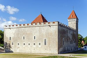 Kuressaare Castle, square stone keep with one square corner tower and red tile roof