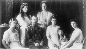 Black-and-white photograph of Nicholas II and family