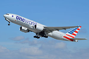 An American Airlines Boeing 777-200ER in new standard Oneworld livery