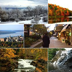 From top left: Ithaca during winter, Ithaca during autumn, Cornell University, Ithaca Commons (downtown), Hemlock Gorge in Ithaca, Ithaca Falls