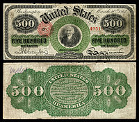 $500 Legal Tender note, Series 1862–63, Fr.183c, depicting Albert Gallatin.