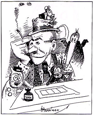 A black and white drawing of a man wearing a brimmed hat, seated at a drawing table, with his right hand on his forehead.  He holds a cigarette in his right hand, and is surrounded by cartoon characters: a mouse on his hat, a long-billed bird looking over his left shoulder, a cat in front of him, and a dog to his right.