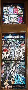 Dieppe Dawn 19 August 1942 stained glass Currie Hall.JPG