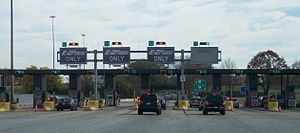 Multi-lane toll plaza with cash and E-ZPass lanes