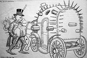 A cartoon of a man dressed in an iron suit, wearing a black top hat with a lockbox chained to his neck, getting into a horse-drawn carriage made out of metal and covered with spikes and cannons.