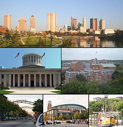 Images, from top left to right: Downtown Columbus, Ohio Statehouse Capitol Square, University Hall (Ohio State University), Short North, Nationwide Arena, Santa Maria replica