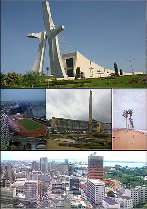 Collection of views of Abidjan, featuring St. Paul's Cathedral, the Félix Houphouët-Boigny Stadium, the Republic square, the beach of Vridi and the CBD named Le Plateau.