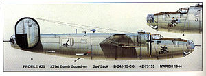 B-24 with SAD SACK nose art