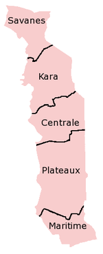 A clickable map of Togo exhibiting its five regions.