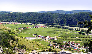 The town of Dürenstein lies in the floodplain of the Danube river. The river passes through the valley, between two sets of mountains on each side. The Russians emerged from the feldspar cliffs and defiles of the mountains, to attack the French column arrayed in the vineyards.