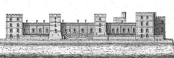 An engraving of a castle, with four square towers running along the face of it. Numerous windows can be seen in the castle walls and towers, and a long, flat terrace runs outside the castle.
