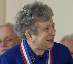 head of Ajzenberg-Selove with ribbon of medal visible around her neck