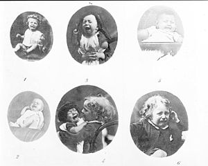 Photographs of frowning children from Darwin's The Expression of the Emotions in Man and Animals