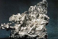 An irregularly shaped specimen of native silver ore.