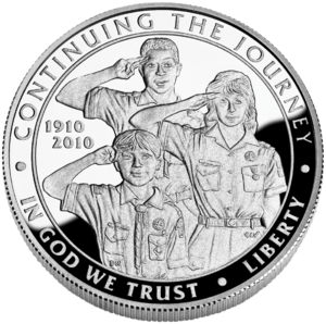 Boy Scouts of America Silver Dollar Centennial Commemorative Coin obverse.png