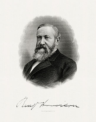 BEP engraved portrait of Harrison as President