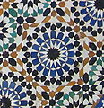 Decorative brightly-coloured tiling in Morocco]