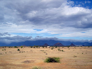 desert behind mountains because of the rain shadow effect