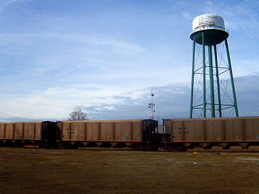 Trains in front of the Conway watertower