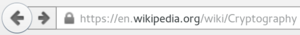 padlock icon in the internet browser line next to the url