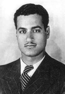 A man wearing a tweed, pinstriped jacket and a tie. His hair is raised and black and he has a thin mustache.