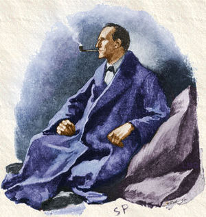 Holmes in a blue bathrobe, reclining against a pillow and smoking his pipe