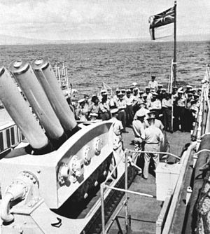Limbo ASW mortar on HMNZS Taranaki (F148) c1963