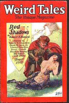Red bordered magazie cover; the central illustration shows a man holding a supine woman