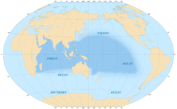 Map of India and Pacific Islands