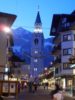The town centre of Cortina d'Ampezzo