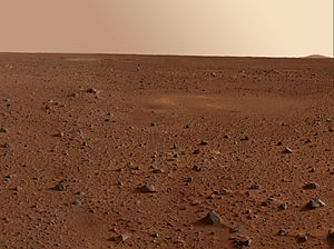 view of Martian desert showing rock field to the horizon