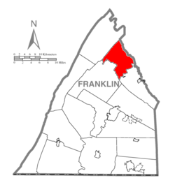Map of Franklin County, Pennsylvania highlighting Lurgan Township